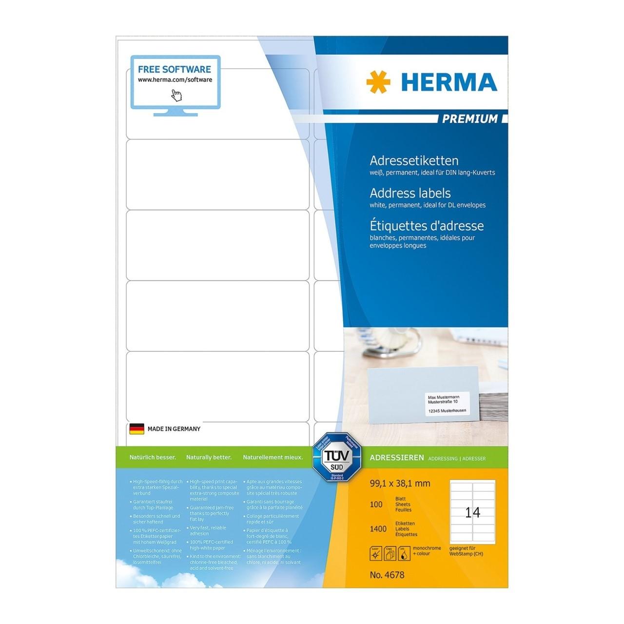 HERMA Inkjet-Etiketten wei/ß 38,1x21,2mm Special A4 VE=6500 St/ück